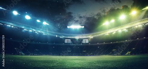 Obraz na płótnie Full stadium and neoned colorful flashlights background