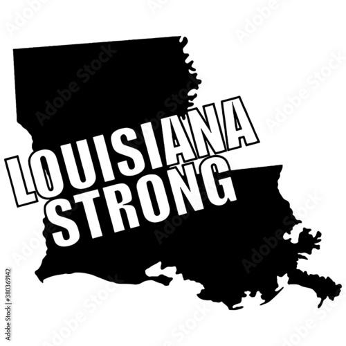Fotografie, Obraz Louisiana strong typography on a map of Louisiana vector graphic