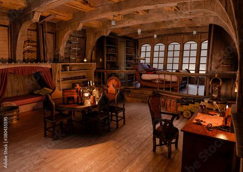 Slika na platnu nice view of the pirate cabin