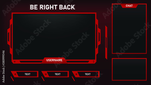 Fotografia Stream Overlay Be Right Back Screen Red and Black theme with Chat Box, Minimalis