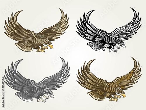 American eagle and flag Tapéta, Fotótapéta