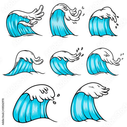 Illustration of sea waves in engraving style Fototapeta