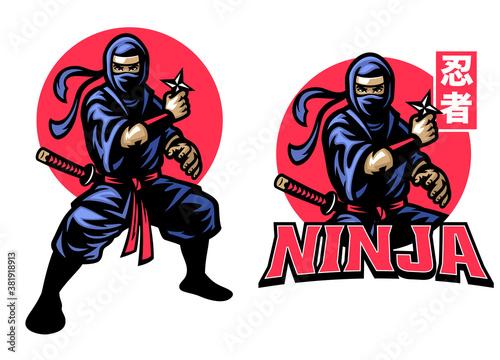 Obraz na plátně ninja mascot set hold the shuriken star weapon