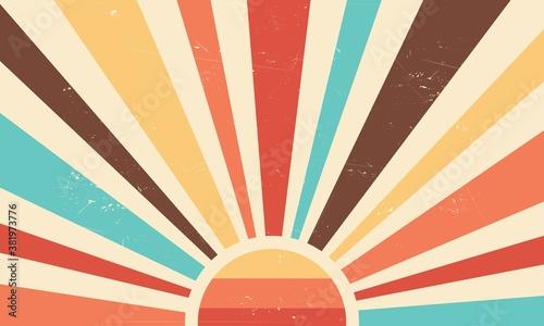 Photo Vintage sun retro banner background