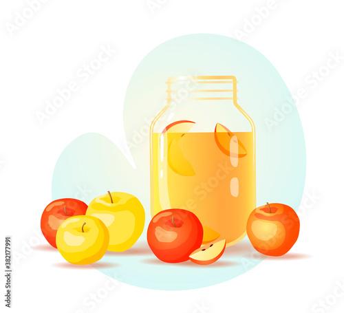 Tablou Canvas Juice jar with apples