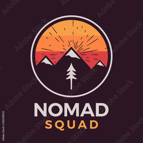 Fototapeta Nomad squad logo, retro camping adventure emblem design with mountains and tree
