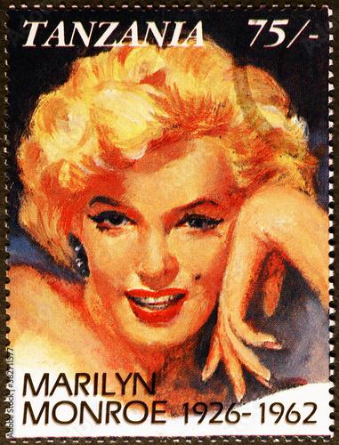 Marilyn Monroe portrait on tanzanian postage stamp Fototapeta