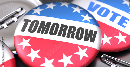 Fotografija Tomorrow and elections in the USA, pictured as pin-back buttons with American fl