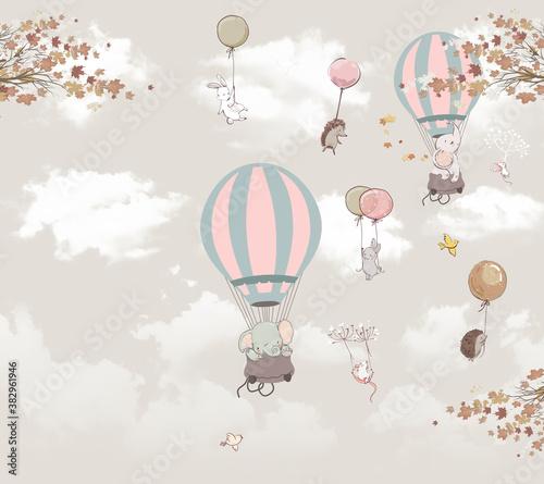 Obraz na płótnie zwierzęta na balonach na niebie