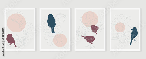 Botanical and birds wall art vector set. Earth tone boho foliage line art drawing with abstract shape. Abstract Plant Art design for print, cover, wallpaper, Minimal and natural wall art..