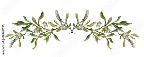Stampa su Tela Hand drawn mistletoe border, vintage style illustration