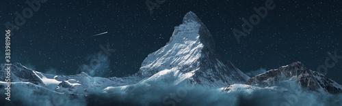 Fotografering panoramic view to the majestic Matterhorn mountain at night