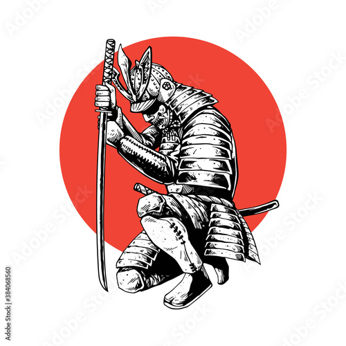 Carta da parati samurai hand drawing style