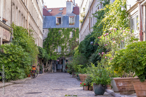 Fotografia Paris, France - June 24, 2020: Passage Lhomme, one of the romantic courtyards in the East of Paris, France