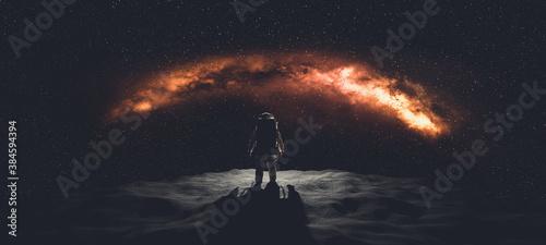 Billede på lærred Astronaut doing space walk. Mars exploration.