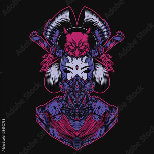 Tablou Canvas Illustration of japanese culture Geisha with mecha theme, perfect for t-shirt design, merchandise design, logo design, etc