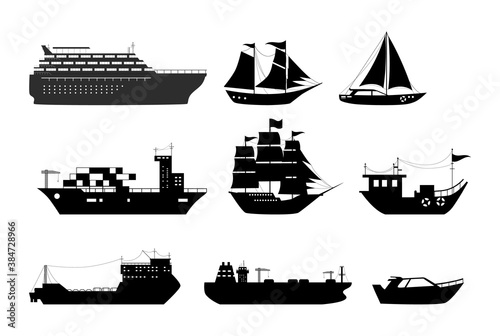 Canvas Print Maritime ships silhouette, shipping boats, sailboat, yacht sailing, cargo cruise ship, steamship, vessel, frigate with sails, battleship, tanker