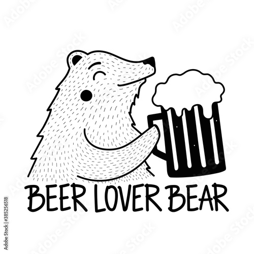 Canvas Funny smiling bear with big glass of beer