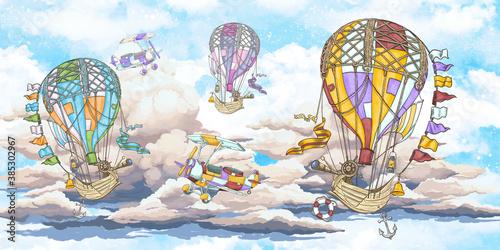 Obraz na płótnie kolorowe balony na niebieskim niebie