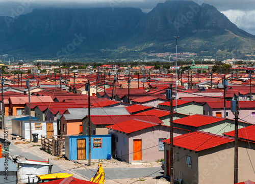 Valokuva red roofed houses in a township, South Africa