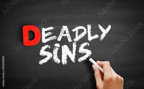 Fotografie, Obraz Deadly sins text on blackboard, concept background