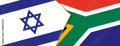 Photo Israel and South Africa flags, two vector flags.