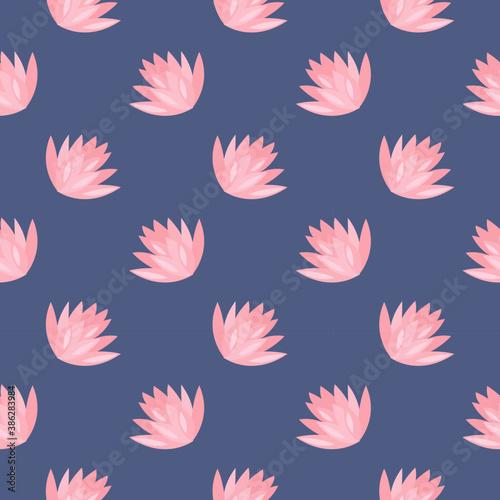 Obraz na płótnie White water flower ,seamless pattern on dark blue background.