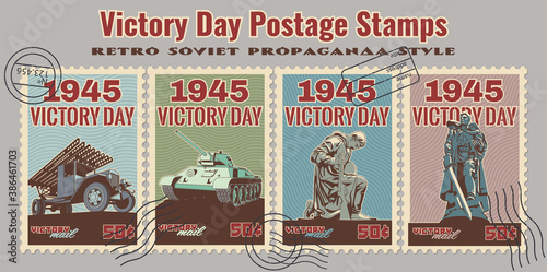 Canvas Print 1945 World War 2 Victory Day Old Soviet Military Propaganda Style Postage Stamps