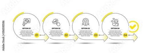 Fotografie, Obraz Graph chart, Teamwork and Lawyer line icons set