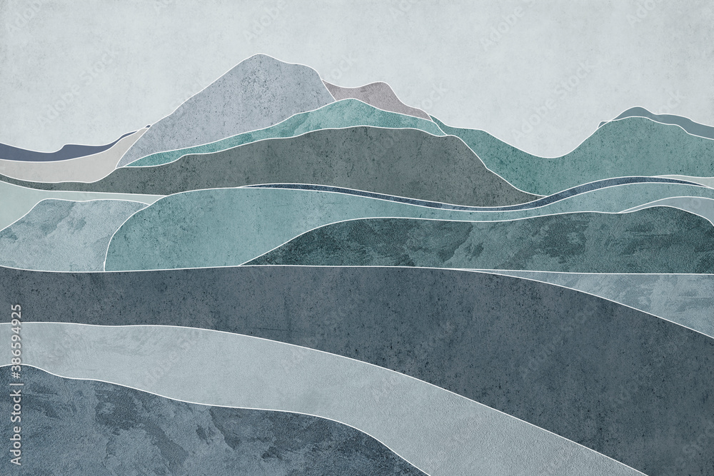 Hills with texture. Blue background