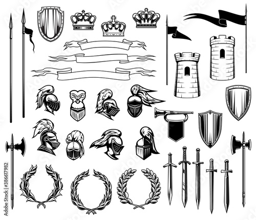 Stampa su Tela Knight heraldry vector set of medieval shields, royal crowns, knight armors, helmets and swords