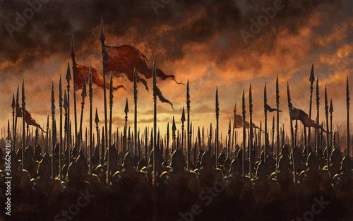 Medieval army battle - digital illustration Fototapeta