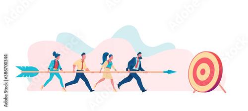 Billede på lærred Business team carries huge arrow to goal