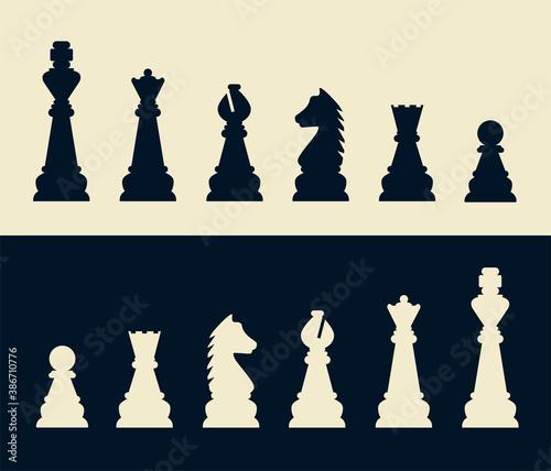 Fotografie, Tablou Silhouettes of chess pieces