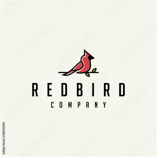 Cardinal Bird Logo Design Illustration Fototapet