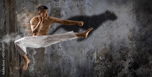 Wallpaper Mural Martial arts master, karate practice. Sports banner