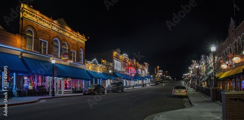 Canvas Night Photo of the Gambling Town of Cripple Creek, Colorado located next to a mo