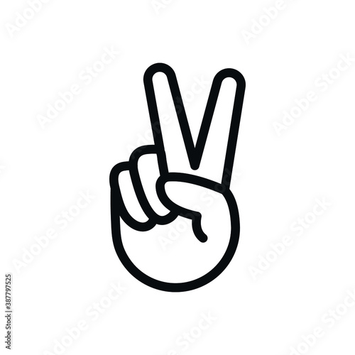 Fotomural Peace Sign, hand V icon, two fingers symbol