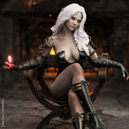 Fotografia Portrait of a stunning exotic fantasy dark elf female sorcerer with long white hair practicing her magic while sitting comfortably in front of a fireplace