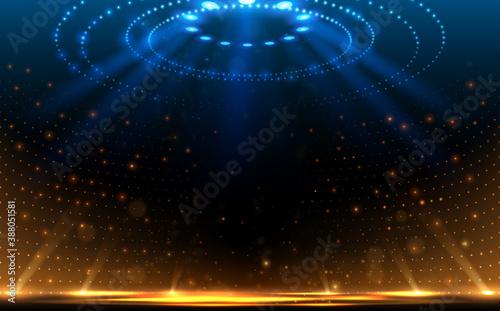 Obraz na płótnie Arena blue and yellow lights background