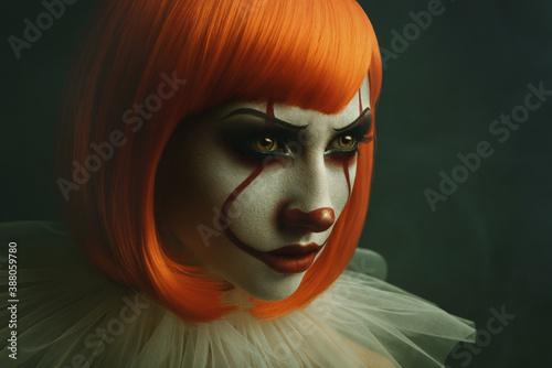 Fényképezés Portrait of young female with clown make-up
