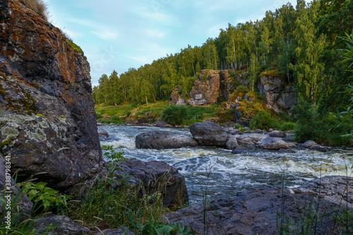 Obraz na płótnie One of the popular tourist places near Yekaterinburg, river Iset threshold revun