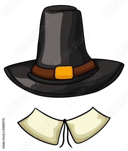 Foto Traditional Pilgrim's Costume with Hat and Collar, Vector Illustration