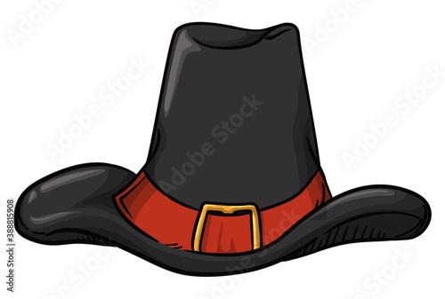 Murais de parede Isolated Pilgrim Hat with Orange Band in Cartoon Style, Vector Illustration