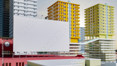 Fotografie, Obraz 3D illustration blank outdoor billboard on red building rooftop