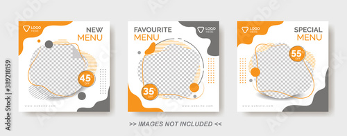 Obraz na plátně Food Menu Banner Template,  Social Media Post Template with gray and orange colo