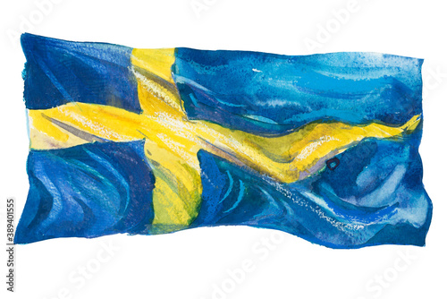 Wallpaper Mural Sweden, Swedish flag. Hand drawn watercolor illustration.