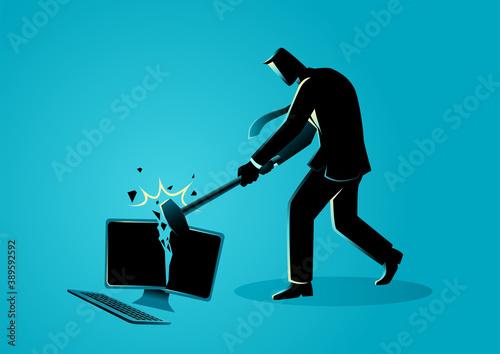 Fotografie, Tablou Businessman destroying desktop computer with sledge hammer