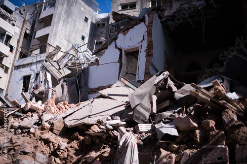 Fototapeta premium Broken buildings that are destroyed from Beirut's port explosion August 4th 2020