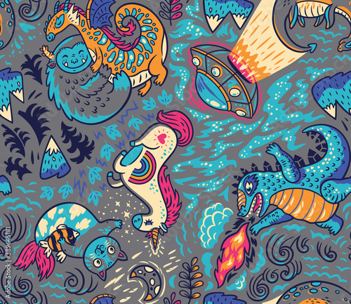 Fotografie, Obraz Myth or not cartoon seamless pattern